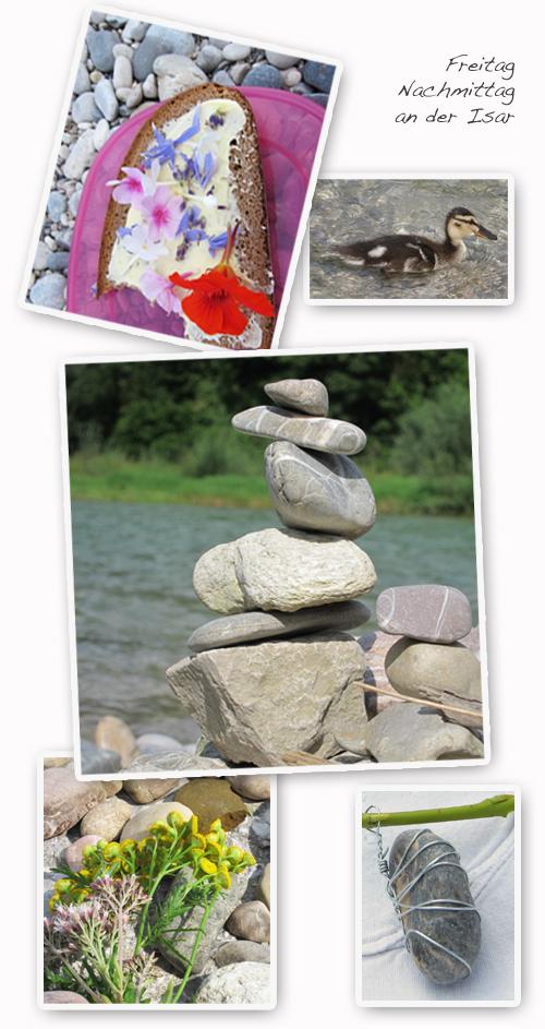 Sommer-Isar-Wasser-Steine