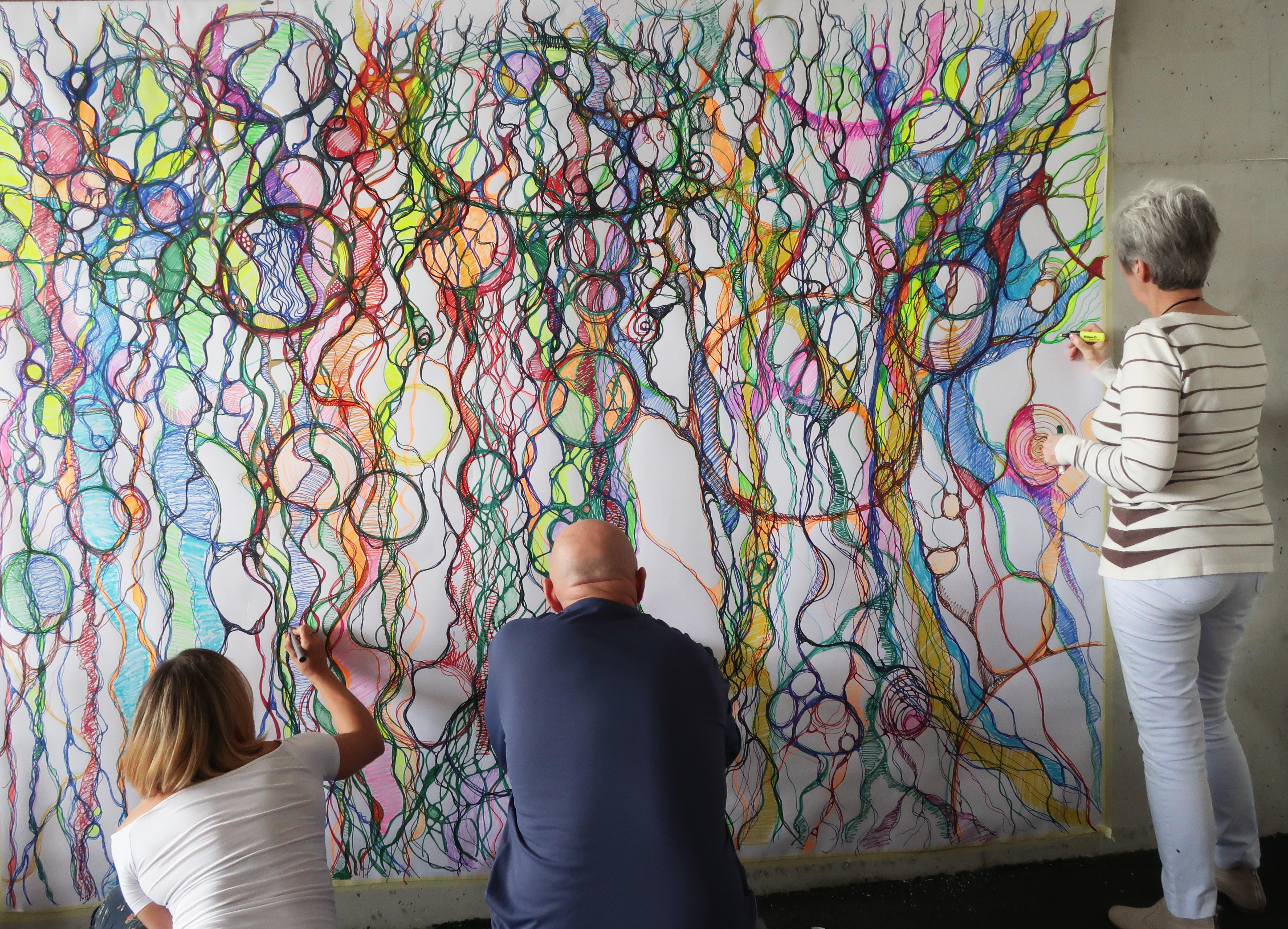 Team-Zusammenarbeit-Farbe-Gemeinschaft